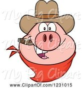 Swine Clipart of Cartoon Pig Head with a Cowboy Hat Cigar and Bandana by Hit Toon