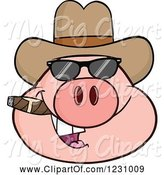 Swine Clipart of Cartoon Pig Head with a Cowboy Hat, Cigar and Sunglasses by Hit Toon