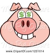 Swine Clipart of Cartoon Pig Head with Dollar Eyes by Hit Toon