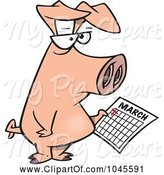 Swine Clipart of Cartoon Pig Holding a Calendar by Toonaday