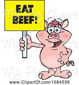 Swine Clipart of Cartoon Pig Holding a Yellow Eat Beef Sign by Dennis Holmes Designs