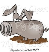 Swine Clipart of Cartoon Pig in a Mud Puddle by Toonaday