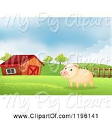 Swine Clipart of Cartoon Pig in a Pasture near a Barn 2 by Graphics RF