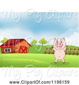 Swine Clipart of Cartoon Pig in a Pasture near a Barn 4 by Graphics RF
