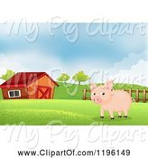 Swine Clipart of Cartoon Pig in a Pasture near a Barn by Graphics RF