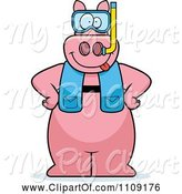 Swine Clipart of Cartoon Pig in Scuba Gear by Cory Thoman