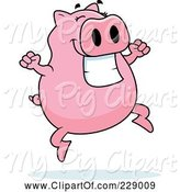 Swine Clipart of Cartoon Pig Jumping by Cory Thoman
