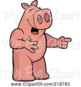 Swine Clipart of Cartoon Pig Laughing and Pointing by Cory Thoman