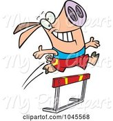 Swine Clipart of Cartoon Pig Leaping over a Hurdle by Toonaday