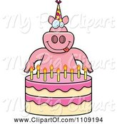 Swine Clipart of Cartoon Pig Making a Wish over Candles on a Birthday Cake by Cory Thoman