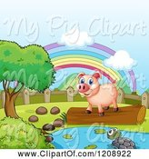 Swine Clipart of Cartoon Pig on a Log by a Pond and Rainbow by Graphics RF
