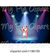 Swine Clipart of Cartoon Pig Performing in Spotlights on a Stage by Graphics RF