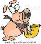 Swine Clipart of Cartoon Pig Playing a Saxophone by Toonaday