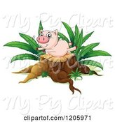 Swine Clipart of Cartoon Pig Playing on a Tree Stump by Graphics RF