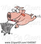 Swine Clipart of Cartoon Pig Pushing a Shopping Cart by Toonaday