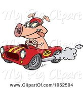 Swine Clipart of Cartoon Pig Racing a Hot Rod by Toonaday