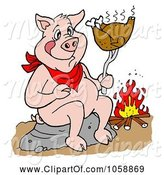 Swine Clipart of Cartoon Pig Roasting a Chicken over a Fire by LaffToon