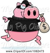 Swine Clipart of Cartoon Pig Robbing a Bank by Cory Thoman
