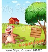 Swine Clipart of Cartoon Pig Running by a Mud Puddle and Sign by Graphics RF