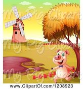Swine Clipart of Cartoon Pig Running by a Mud Puddle in an Autumn Landscape by Graphics RF