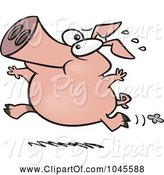Swine Clipart of Cartoon Pig Running by Toonaday
