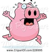 Swine Clipart of Cartoon Pig Running Scared by Cory Thoman