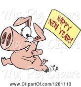 Swine Clipart of Cartoon Pig Running with a Happy New Year Sign by Toonaday