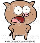 Swine Clipart of Cartoon Pig Shouting by Lineartestpilot
