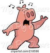 Swine Clipart of Cartoon Pig Singing and Lunging Forward by Cory Thoman