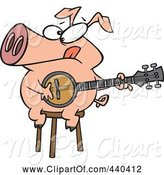 Swine Clipart of Cartoon Pig Sitting on a Stool and Playing a Banjo by Toonaday