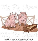Swine Clipart of Cartoon Pig Slop with Two Happy Swine by BNP Design Studio