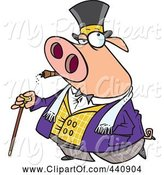 Swine Clipart of Cartoon Pig Smoking a Cigar and Walking with a Cane by Toonaday
