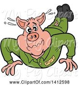 Swine Clipart of Cartoon Pig Soldier Doing Pushups by LaffToon