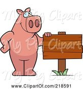 Swine Clipart of Cartoon Pig Standing Beside a Blank Wood Sign by Cory Thoman