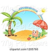 Swine Clipart of Cartoon Pig Sun Bathing Under a Rainbow on a Beach by Graphics RF