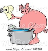 Swine Clipart of Cartoon Pig Washing His Hands in a Tub and Reaching for Paper Towels by Djart