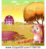 Swine Clipart of Cartoon Pig Waving by a Mud Puddle by Graphics RF