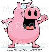 Swine Clipart of Cartoon Pig Waving by Cory Thoman