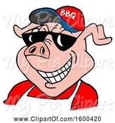 Swine Clipart of Cartoon Pig Wearing a Bbq Hat and Sunglasses by LaffToon