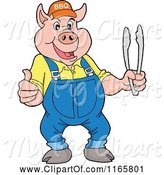 Swine Clipart of Cartoon Pig Wearing Overalls and a Bbq Hat and Holding Tongs and a Thumb up by LaffToon