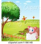 Swine Clipart of Cartoon Pig with a Sign by a Mud Puddle 2 by Graphics RF