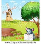 Swine Clipart of Cartoon Pig with a Sign by a Mud Puddle 3 by Graphics RF