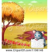 Swine Clipart of Cartoon Pig with a Sign by a Mud Puddle 4 by Graphics RF