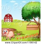 Swine Clipart of Cartoon Pig with a Sign by a Mud Puddle 5 by Graphics RF