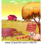 Swine Clipart of Cartoon Pig with a Sign by a Mud Puddle 6 by Graphics RF