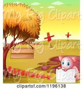 Swine Clipart of Cartoon Pig with a Sign by a Mud Puddle by Graphics RF