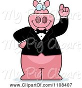 Swine Clipart of Cartoon Pig with an Idea Wearing a Tux by Cory Thoman