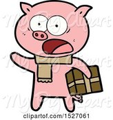 Swine Clipart of Cartoon Pig with Christmas Present by Lineartestpilot