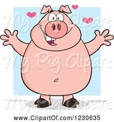 Swine Clipart of Cartoon Pig with Hearts and Open Arms for a Hug by Hit Toon