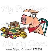 Swine Clipart of Cartoon Pigging out Hog with Junk Food by Toonaday